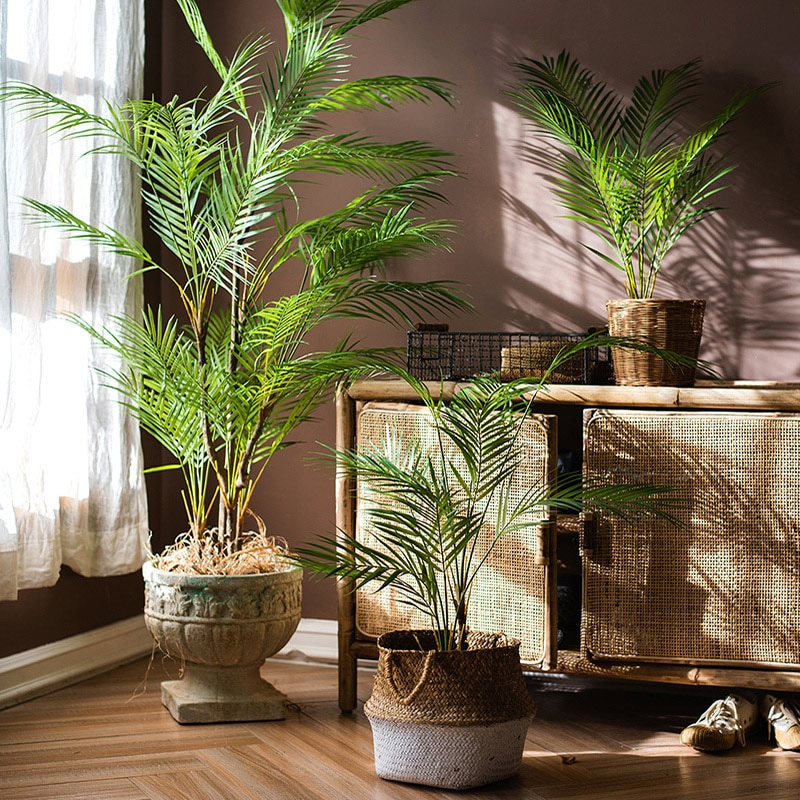 125cm Tropical Palm Plants Large Artificial Tree Branches Plastic Fake Leaves Green Monstera For Hom
