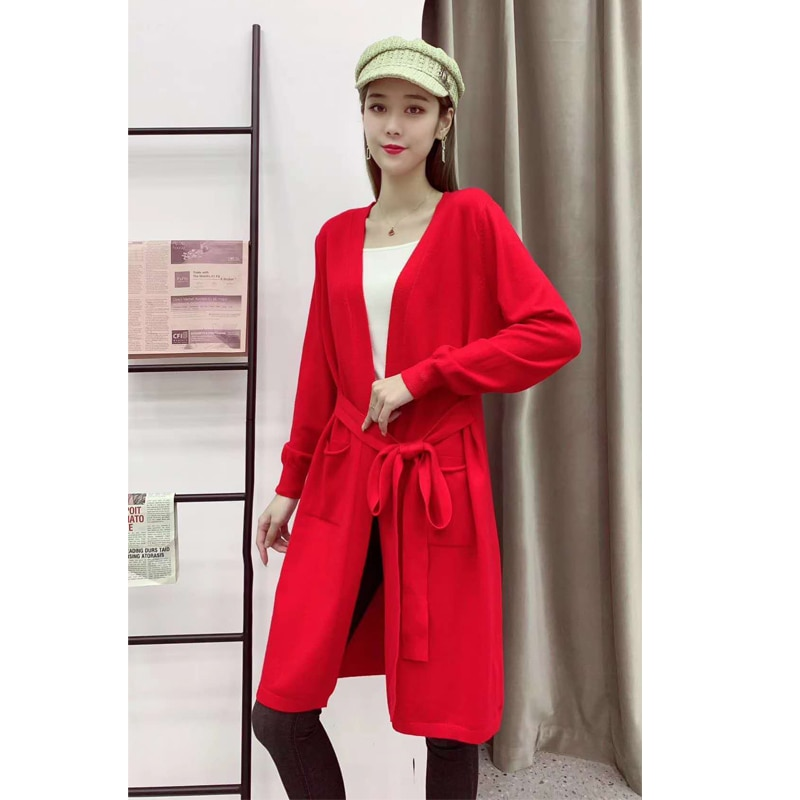 V Neck Soft Warm Sweater Women Autumn winter long Knitted Cardigans sweaters woman sweaters& coat enlarge