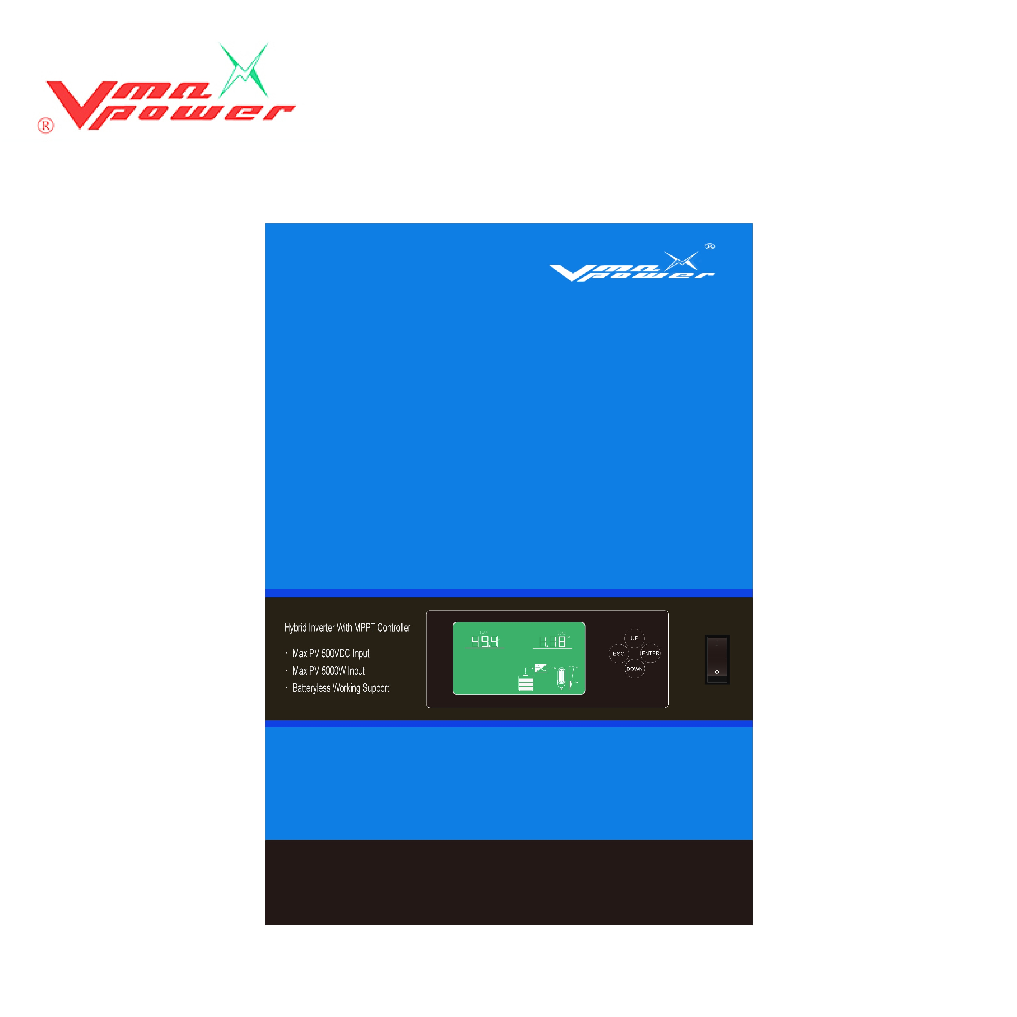 Vmaxpower 3Kva/5Kva 500Vdc hybrid solar inverter with MPPT charger work without battery for home and government solar system