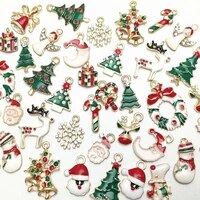 mixed metal charms christmas pendant ornaments beads for jewelry making xmas tree elk santa claus snowman diy bracelet earrings