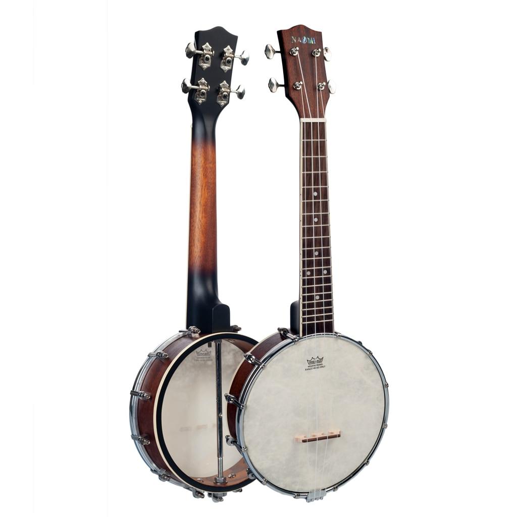 Banjolele 23 Inch Concert Size 4 Strings Banjo Ukulele Set w/Gig Bag Tuner 18 Frets Sunset Color Satin Vintage Mahogany enlarge