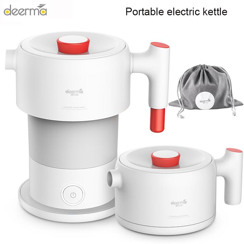 Портативный электрический чайник Deerma, дорожный складной кухонный чайник для кипячения, 0,6 л