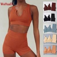 wohuadi 2021 summer seamless sports shorts yoga wear gym fitness suit womens clothing set u neck sports bra stripe sportswear