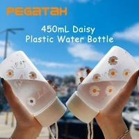 450ml smal daisy plastic water bottle bpa free creative frosted portable rope travel water bottle men and women handy cup
