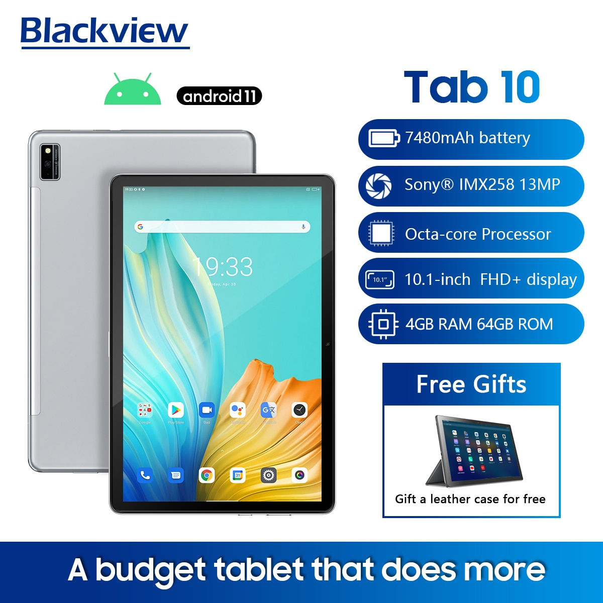 """Blackview Tab 10 Android 11 Tablet PC 10.1"""" 4GB+64GB MTK8768 Octa Core 1.8GHz 13MP WiFi& Bluetooth 4G 7480mAh Battery 1920 *1200"""