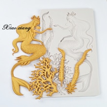 Mermaid Seaweed Silicone Fondant Mold Resin Molds Cake Decorating Baking Tools, Kitchen Accessories Molds For Baking M2055