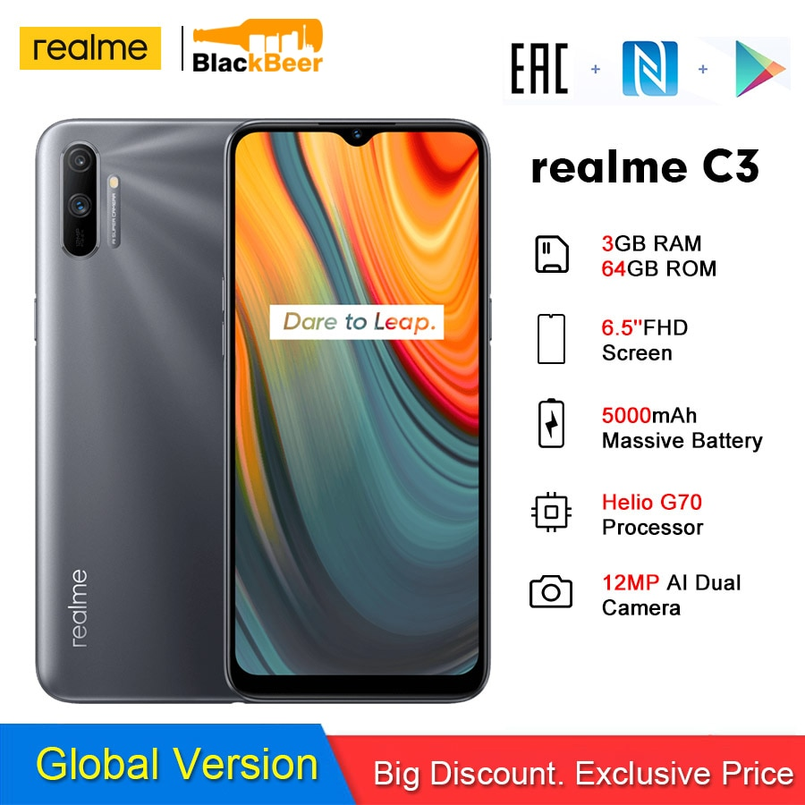 Перейти на Алиэкспресс и купить Realme C3 Android 10 смартфон 6,52 дюйммини-дисплей 3 Гб 64 Гб Helio G70 мобильный телефон 12MP AI камера 4G мобильный телефон 5000 мАч NFC