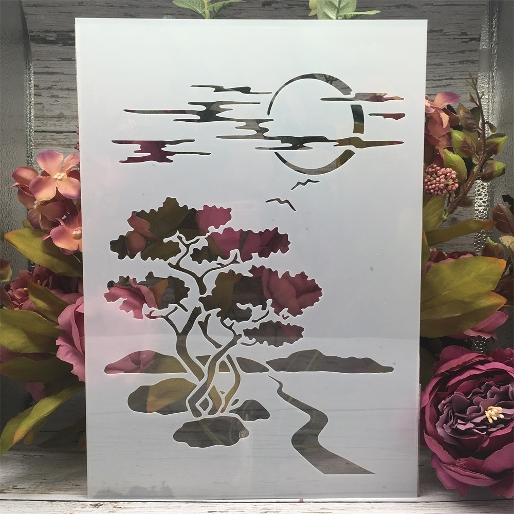 AliExpress - A4 29cm Moon Road Tree Night DIY Layering Stencils Wall Painting Scrapbook Coloring Embossing Album Decorative Template