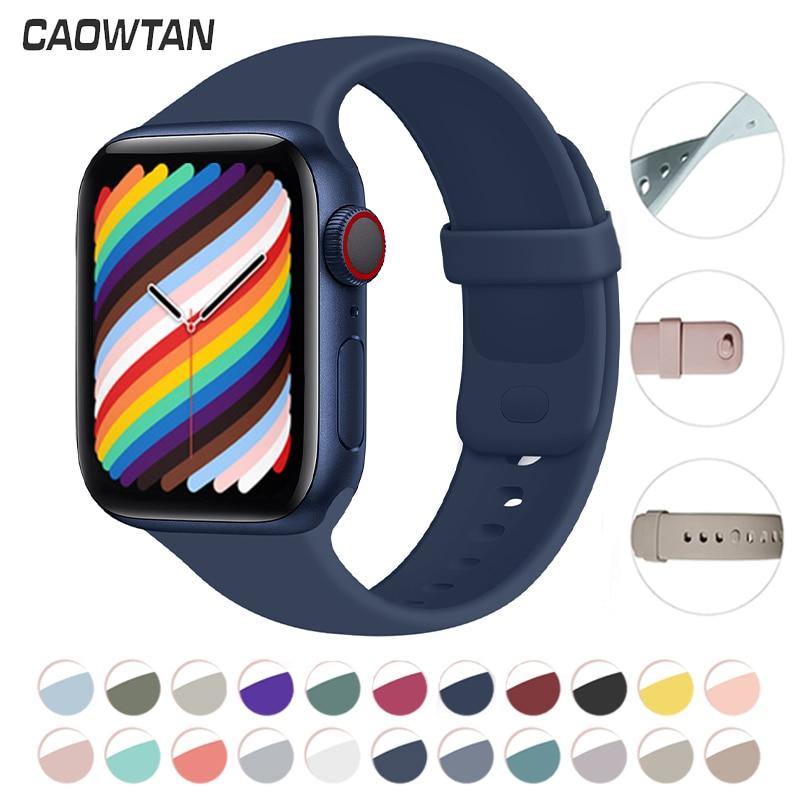 Мягкая силиконовая лента для наручных часов Apple Watch серии SE 6 5 4 3 2 1 44 мм 40 мм сменный ремешок для наручных часов iWatch серии SE 6 5 4 3 2 1 38 мм 42 мм