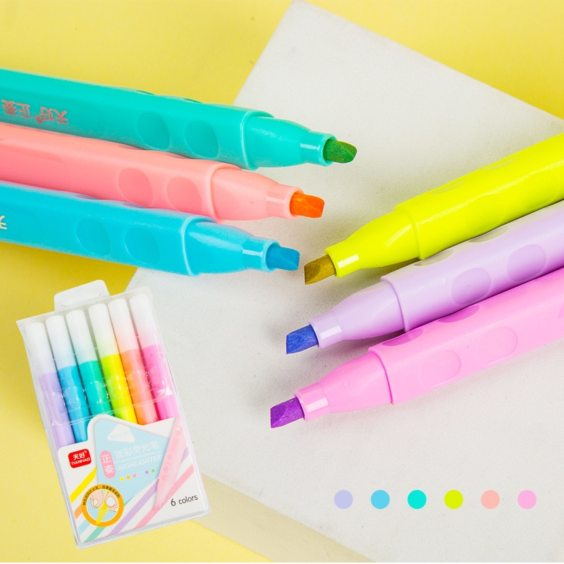 6 colors/6 light color eye protection student supplies highlighter correction triangle pen holder marker pen graffiti  supplies