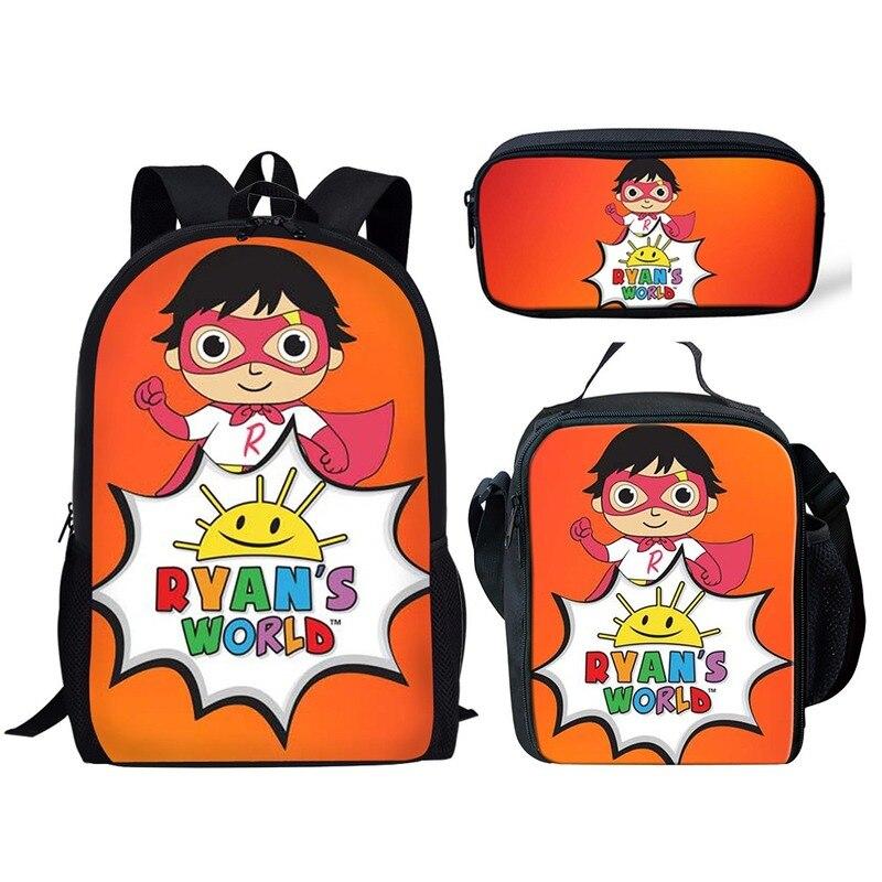 2020 Ryans Mundo Impressão Mochila para Os Meninos Adolescentes Meninas Estudante Escola Bags YouTube Estrelas 3 pçs/set Crianças Sacos Mochila Diariamente