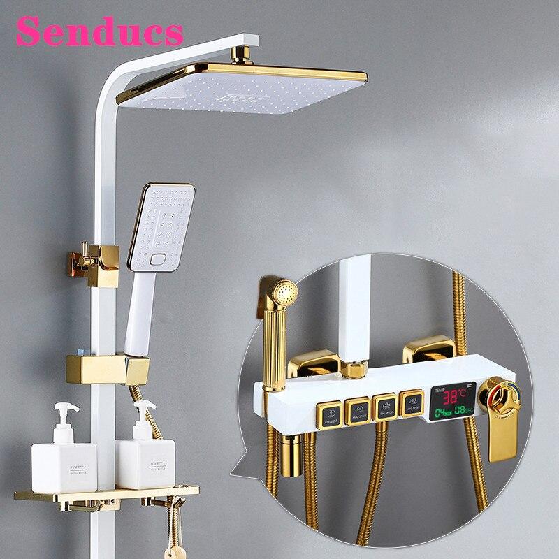 ترموستاتي الحمام دش مجموعة SDSN الأمطار أدوات دش ABS دش رئيس الفاخرة الحائط الرقمية حمام دش خلاط مجموعة