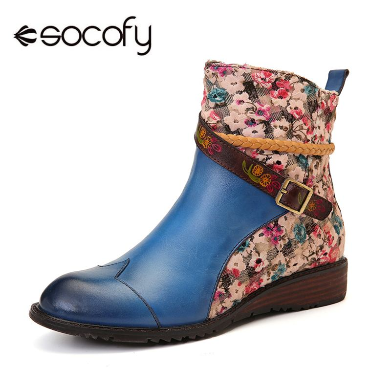 SOCOFY, botas de mujer, piel auténtica con puntadas bordadas, cuerda tejida Bohemia, cremallera, Botines planos, zapatos de mujer, zapatos de mujer