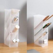 Multi-Function 4 Grid Transparent Desktop Pen Holder Office School Storage Case Plastic Box Desk Pen Pencil Organizer 2 Colrds