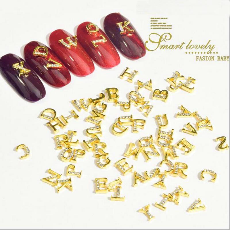 Palabras de Metal de decoración artística de uñas 3D, letras ABC con...