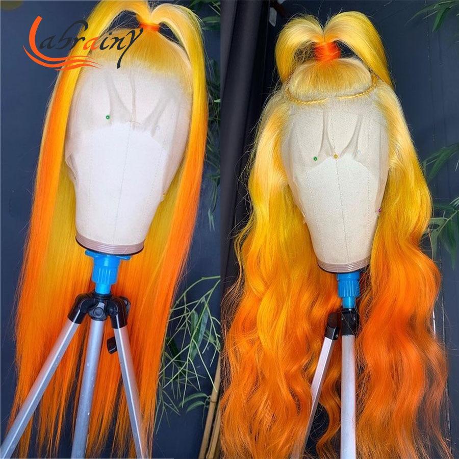 40 дюймов, с подсветкой оранжевый HD Синтетические волосы на кружеве al парик вырезанные полные эффектом деграде (переход от темного к имбирь Ц...
