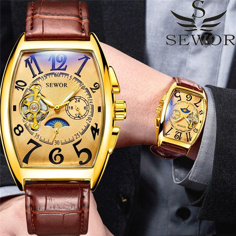 Relógio de Luxo Relógios de Pulso Fase da Lua Clássico Masculino Ouro Tourbillon Relógios Automático Mecânico Pequenos Segundos Reloj Hombre