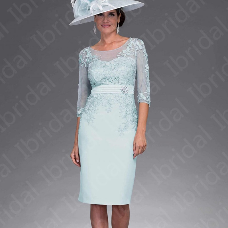 black zip design square neck 3 4 length sleeves dresses New Arrival Short Pale Blue Mother of the Bride Dresses Knee Length Lace Jewel Neck Wedding Party Dresses with 3/4 Sleeves 2021
