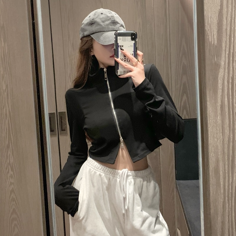 2020 autumn new high-neck slim top cropped women's long-sleeved cardigan thin short coat