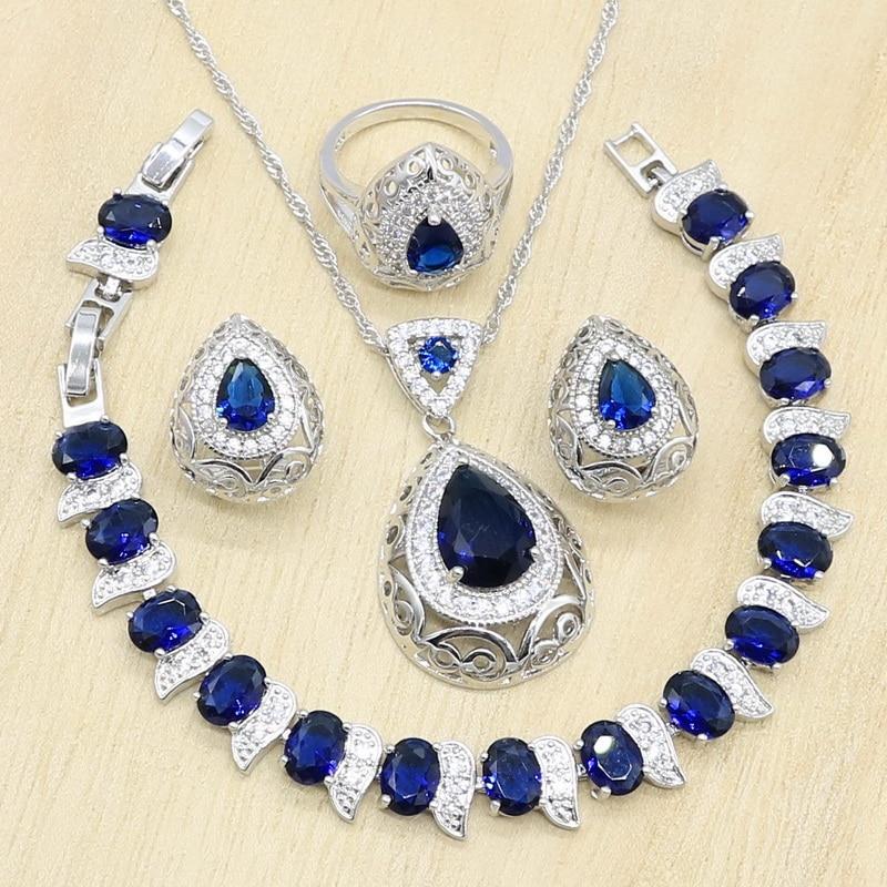 Azul escuro cristal amarelo zircônia prata cor conjuntos de jóias para mulheres pulseira colar brincos anel aniversário presente de noiva