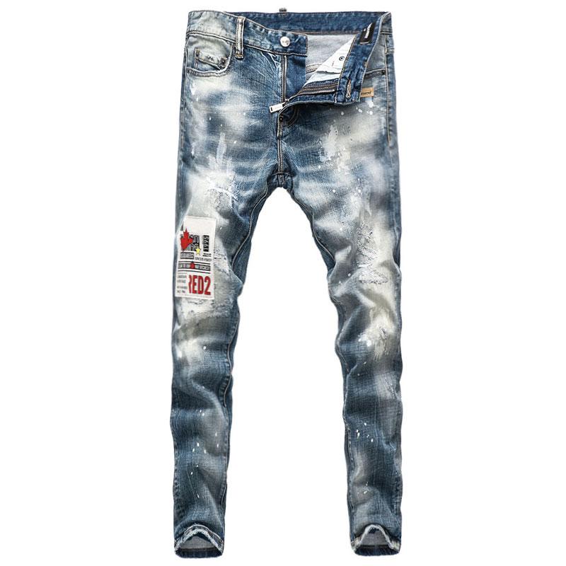Европейские и американские уличные модные мужские джинсы в стиле ретро светло-голубые Эластичные зауженные рваные джинсы мужские дизайнер...