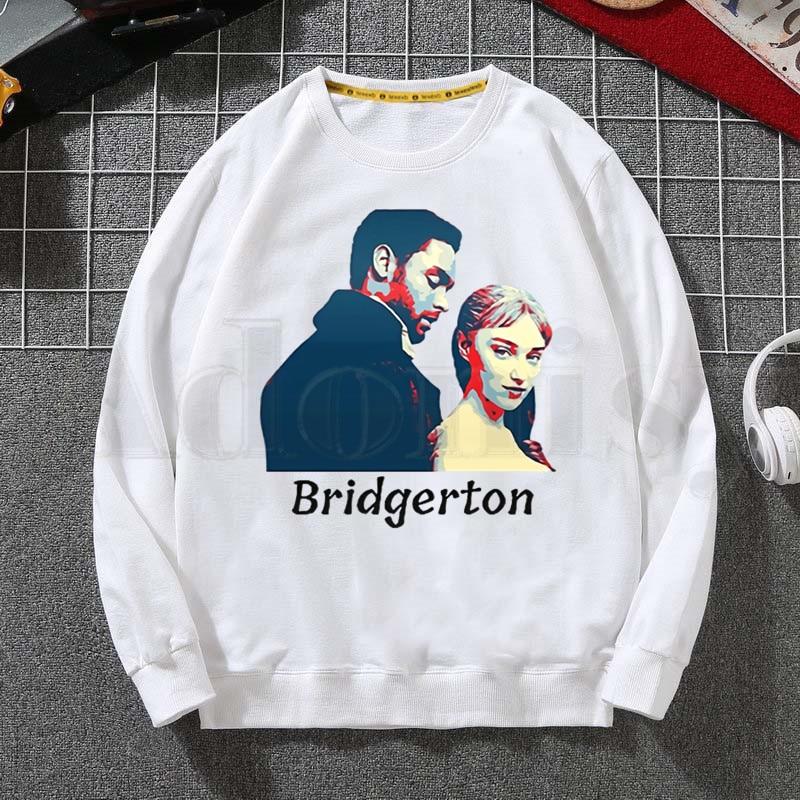 Bridgerton Daphne And Simon Graphic Tv Series Hoodies Sweatshirt Print Trend Mens Clothes Hip-Hop Male Crewneck Hoodies Men