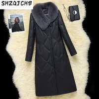 shzq leather down jacket womens sheep skin medium and long fashion printed jacket with down leather jacket