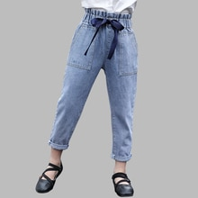 Jeans Girl High Wait Children's Jeans For Girls Big Bow Jeans For Children Solid Clothes For Girls 6 8 10 12 14