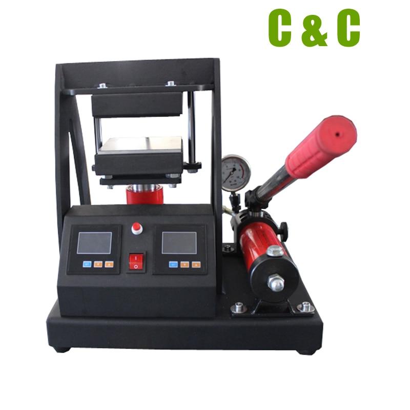 """14000PSI высокого давления 12x12 см 4,7x4,7 """"ручной гидравлический канифоль пресс двойной тепловой пластины масло экстрактор канифоль пресс машина CK170-2"""