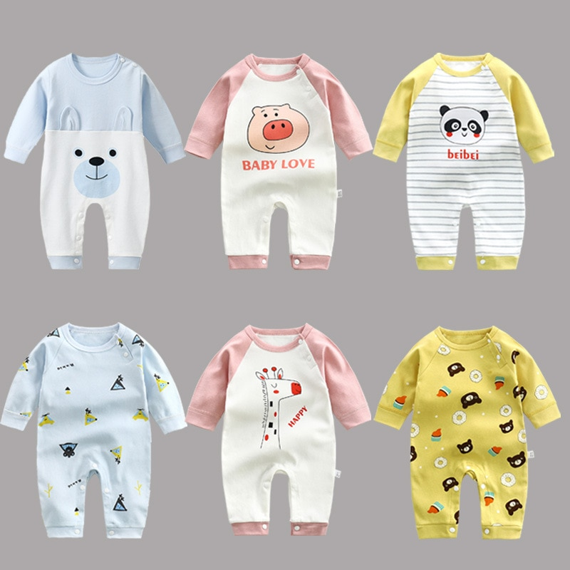 Baby Boys Girls Romper Cotton Long Sleeve print cartoon Jumpsuit Infant Clothing Autumn Newborn Baby Clothes cute newborn baby clothing long sleeve cotton solid baby rompers peter pan collar girls boys clothes jumpsuit infant costumes