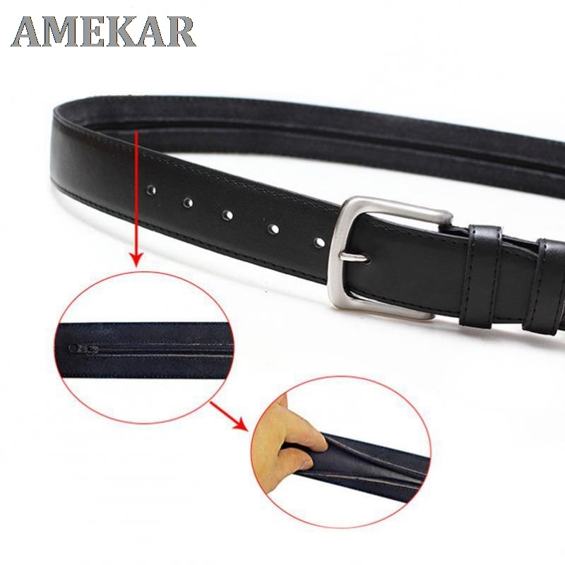 Zipper Leather Belt Men Environmental Protection Pu Inner Clip Anti-theft Zipper Wallet Belt Luxury