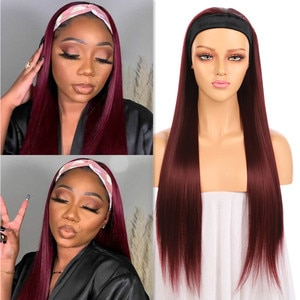 Straight Headband Wigs 99J Color Burgundy Full Machine Made Synthetic Hair Heat Resistant Long Straight Wig For Black Women