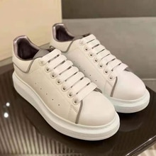 Leather McQueen White Shoes for Men's and Women's Couples 2021 New All-Match Thick-Soled Inner Incre