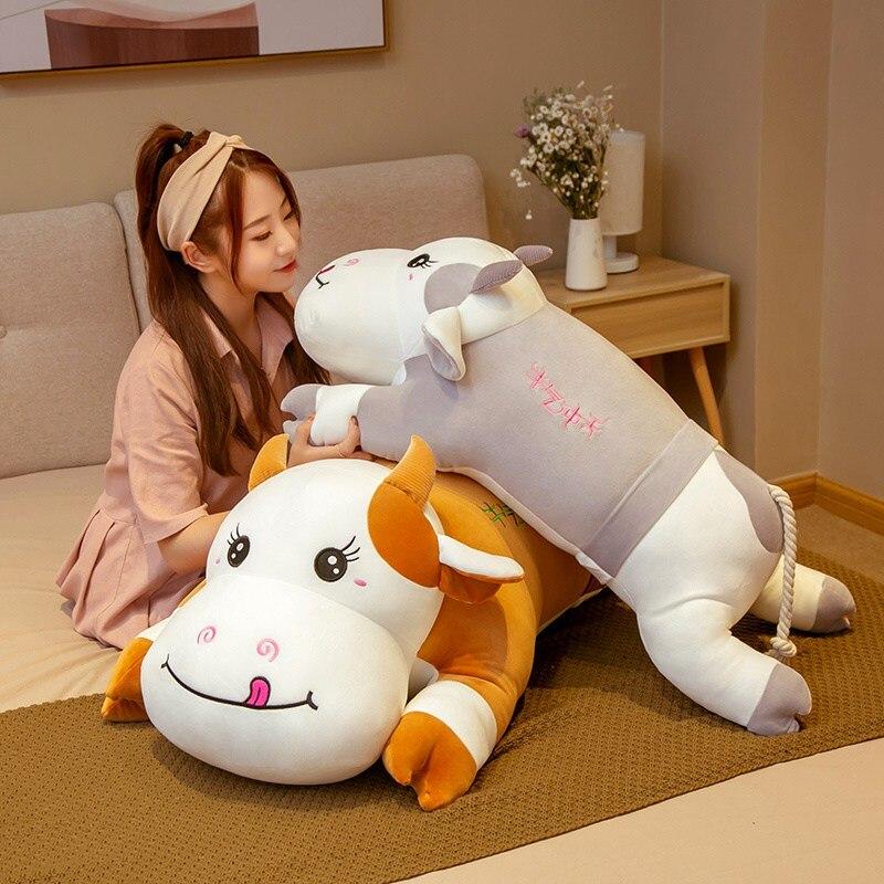 Almohada larga de 42cm-90cm con diseño de vaca lechera de peluche, almohada para dormir de muñeca, cojín, regalos de navidad