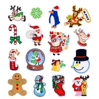 50pcslot embroidery patches clothing christmas decoration accessories santa elk snowflake diy iron heat transfer applique