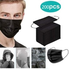 200pc Disposable Face Masks Face Scarfs Anties-dust Face S Filter Earloop Activated Carbon Black Cot