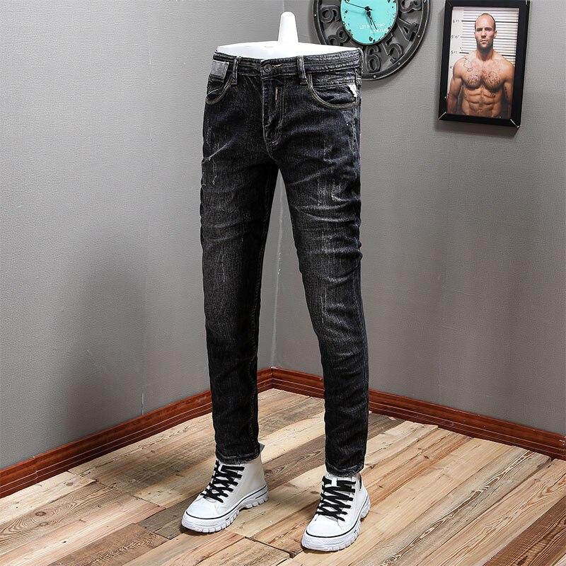 Модные мужские джинсы в итальянском стиле ретро Черные Серые Эластичные зауженные рваные джинсы мужские винтажные дизайнерские Стрейчевы...