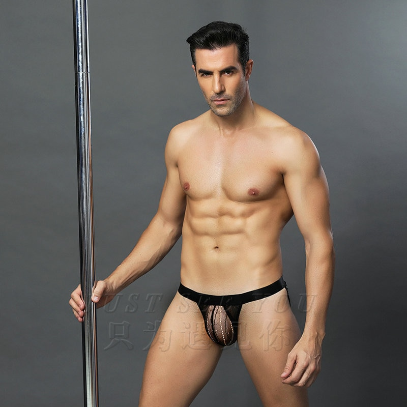 Sexy three-dimensional passion high-end thin section low waist temptation thong perspective hot sexy underwear men