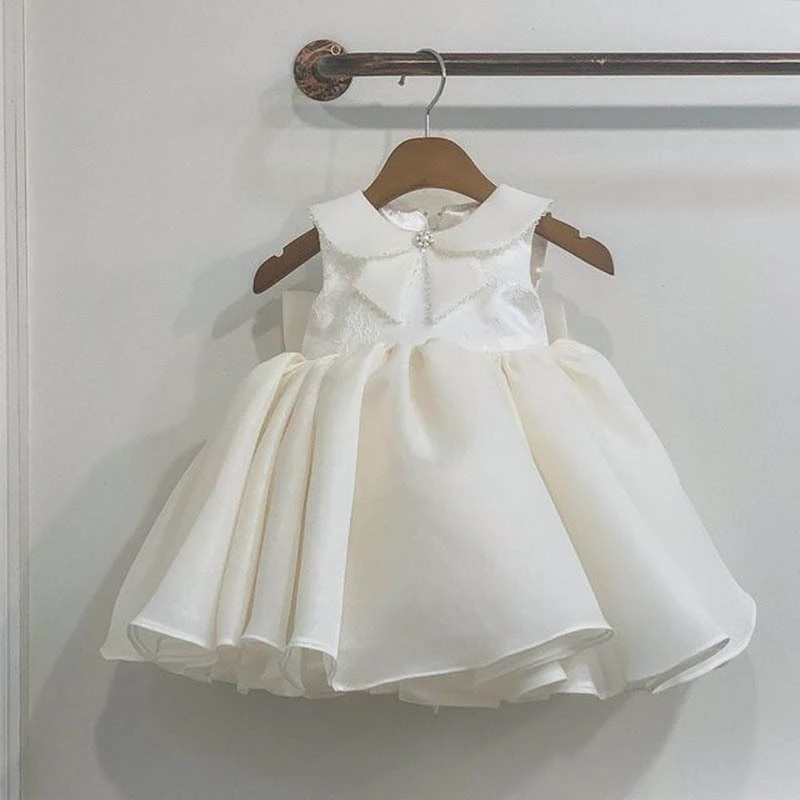 Toddler Butterfly Baptism Dress White Birthday Dress for 1 Year Baby Girl Clothes Party Wedding Brid