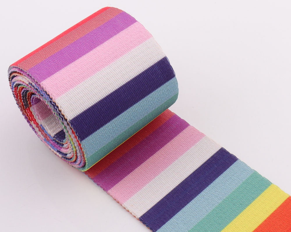 2yards 50mm Rainbow Poly Webbing Stripe Webbing Fabric ribbon Belt Strap Handbag Strap Canvas Webbing Bag strap