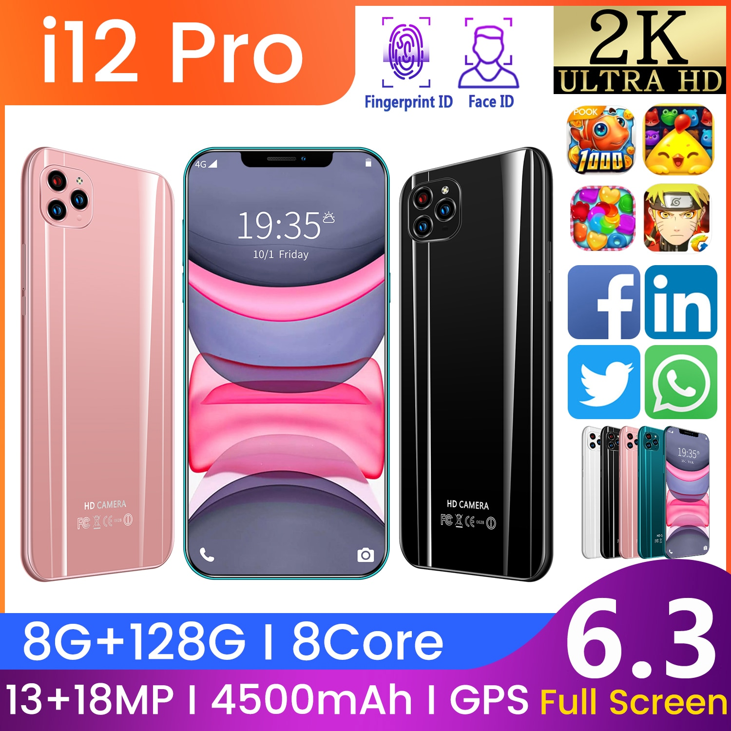 SAILF i12pro Android 10.0 Mobile Phone 6.3' FHD+ 13MP Triple Camera 8G RAM 128GB ROM Smartphone 4G gsm Global