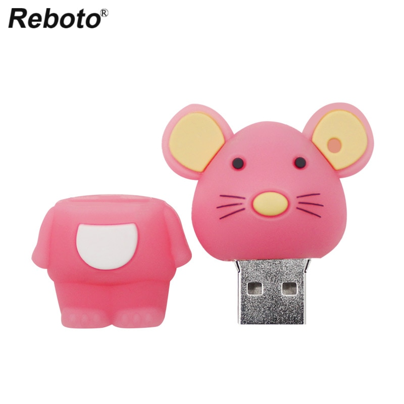 Ratón de dibujos animados lindo Flash USB Stick Pen drive 8GB 16GB 32GB 64GB Pendrive rosa de memoria USB Flash Drive, mejor regalo