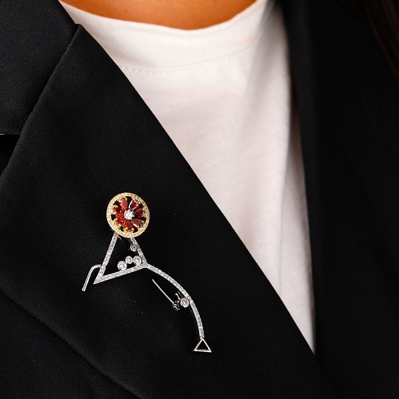 Zhijia dress Cocktail glass rhinestone zircon pins brooches for women party jewelry suit accessories