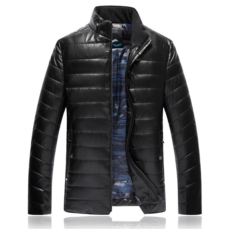 6XL 8XL 7XL Stand Collar Men Winter Parkas Cotton Striped Leather Jacket Waterproof Windproof Keep Warm Stylish Mans Coat 8828