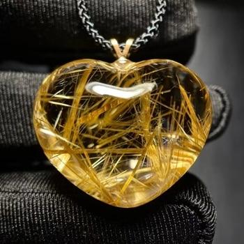 Natural Gold Rutilated Quartz Heart Love Pendant 27*22*14.5mm 18K Gold Wealthy Crystal Rutilated Jewelry Women Men Brazil AAAAAA