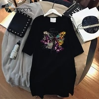 dress mini women loose summer fashion butterfly print t shirt dresses korean short sleeve casual pullover streetwear