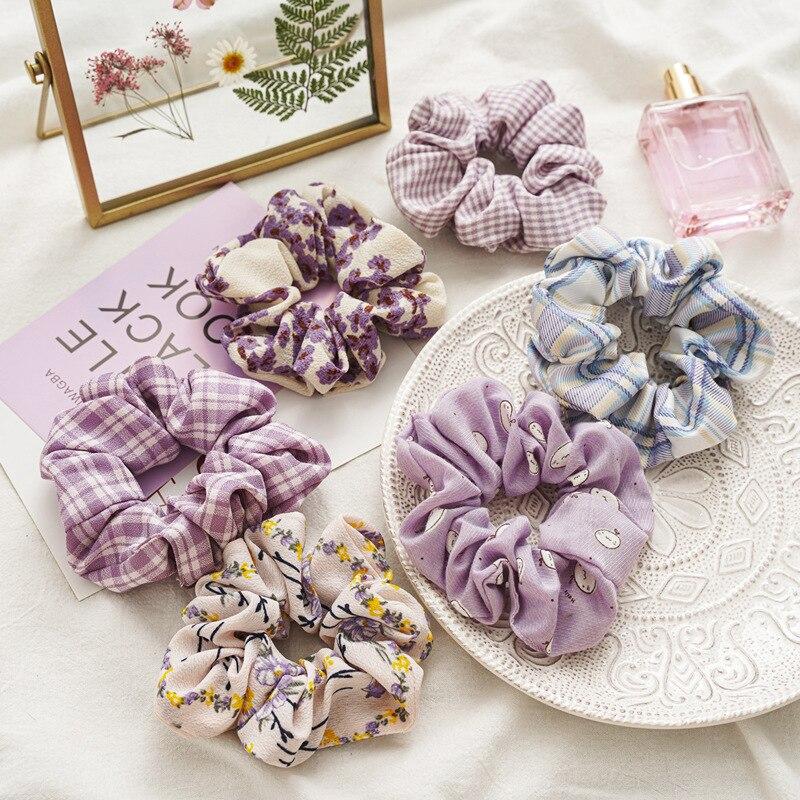 2020 New Hot Lavender Color Scrunchie Set 6pcs/lot Women Flowers Schrunchie Pack Kawaii Cute Korean Hairbands Wholesale