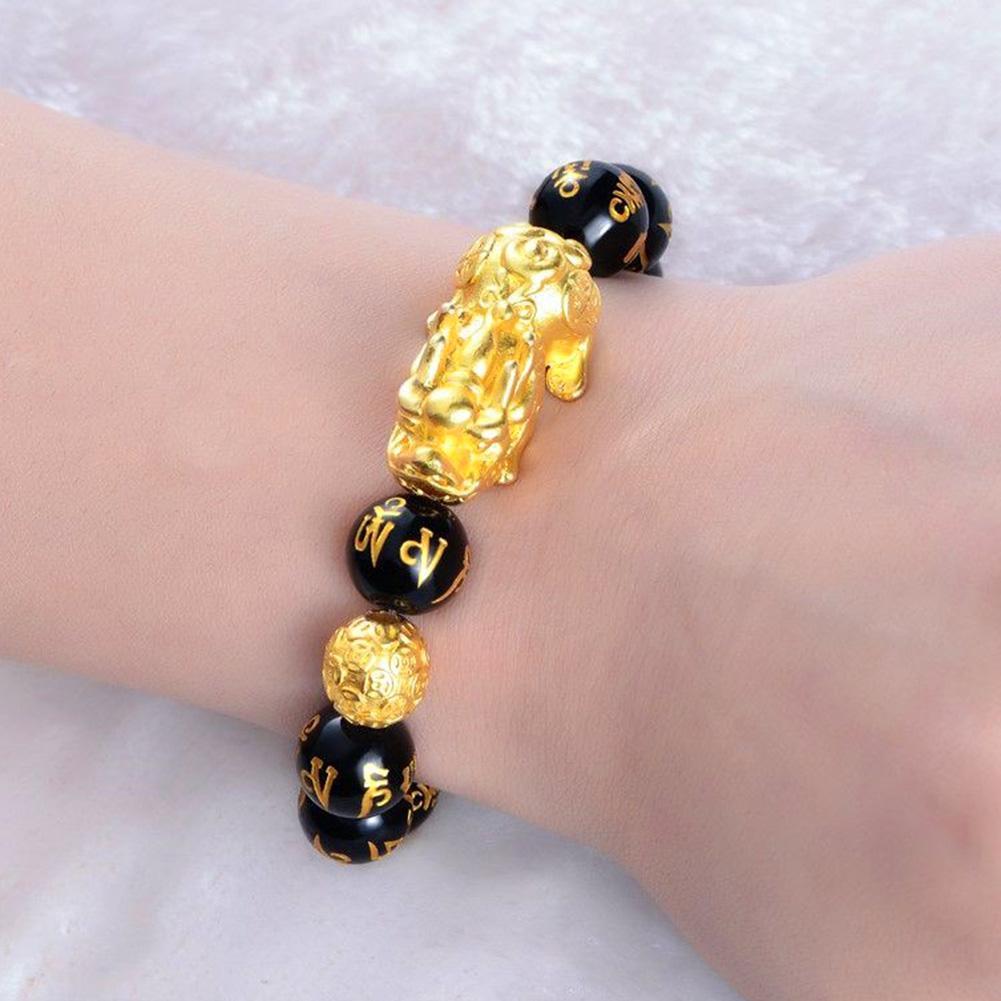 Moda unissex falso obsidian grânulo boa sorte pi xiu pulseira fortuna jóias presente pulseira menino menina charme pulseira jóias
