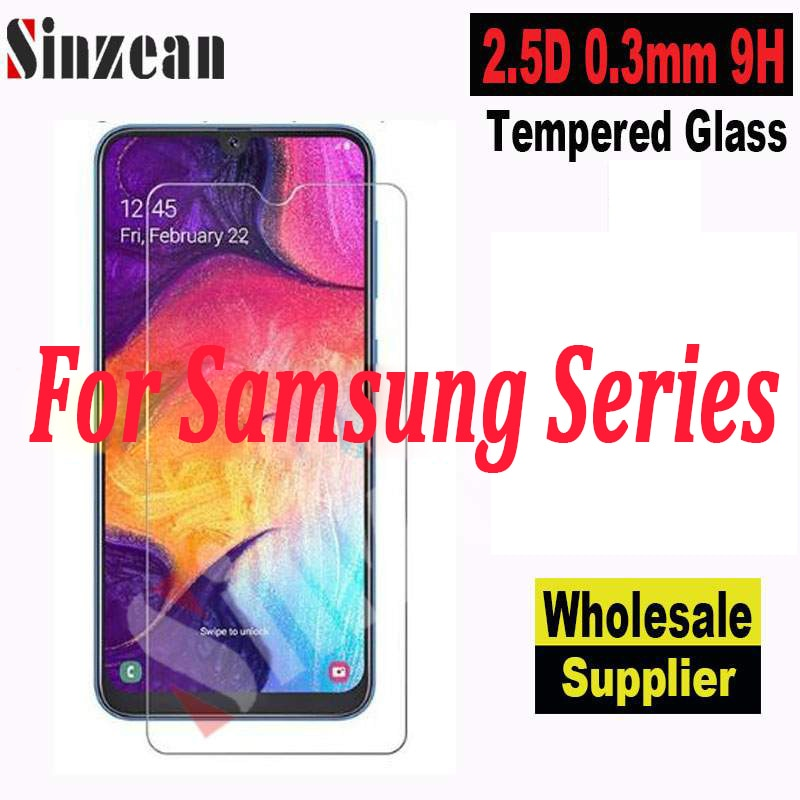 Sinzean-واقي شاشة زجاجي مقوى 2.5D لهاتف Samsung Galaxy A01/A11/A21/A31/A41/A51/A61/A71 5G/A81/A91/A7E ، 100 قطعة