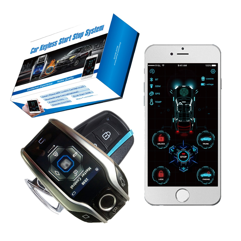Cardot Ignition System Pke Lock LCD Remote Liquid Crystal Key Entry Start Stop Car Alarm with autostart